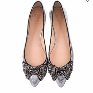 Tory Burch Embellished Metallic Flats Size 7